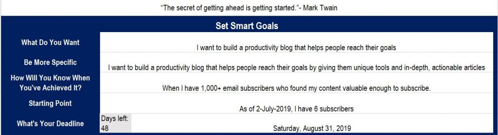 setting your goal - goal tracker